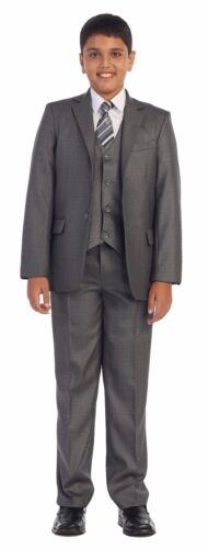 Magen Kids Boys Formal Bridal 5 Pcs Set Suit Size 1-18 GRAY 2 Buttons 9018-251