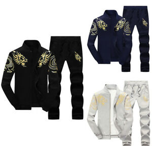 New-2Pcs-set-Men-Fleece-Tracksuit-Tops-Pants-Sport-Suit-Size-M-4XL-Casual