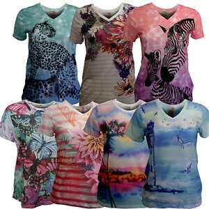 Women-039-s-COLORFUL-Graphic-T-Shirt-SOFT-Light-Fabric-Sublimation-Short-Sleeve
