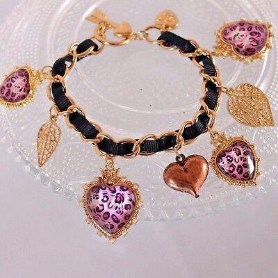 B252 BETSEY JOHNSON Pink Stripey Hearts with Leopard Heart Chain Bracelet US