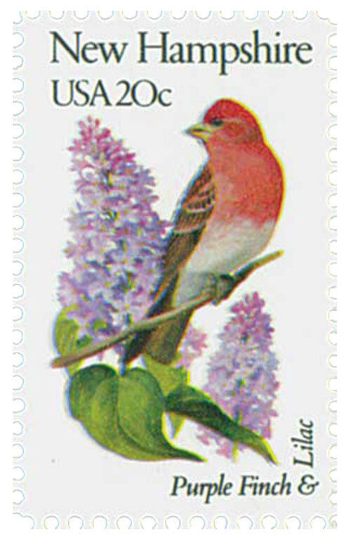 1982 20c State Birds & Flowers, New Hampshire, Finch &