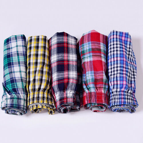 Men/'s Plaid Print Elastic Waist Underwear Summer Beach Pants Boxers Shorts Newly