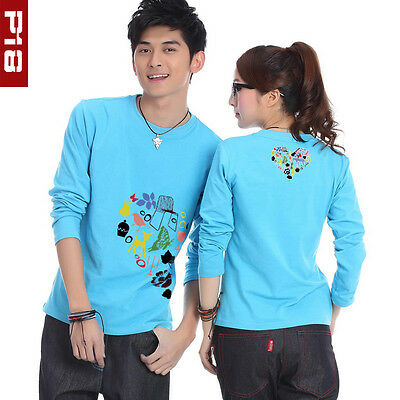 1PC Fashion Blue Painting Love Cotton Couples T-Shirt Lover's Long Sleeve Spring