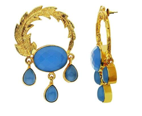 New Pretty 18K Gold Plated Earrings With Multi Faceted Blue Chalcedony Detail