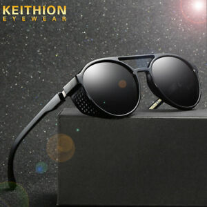 8b36f2783f Image is loading Unisex-Vintage-Polarized-Steampunk-Sunglasses-Fashion-Round -Mirror-