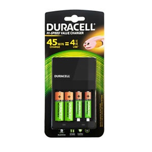 NEW Duracell 4 Hour AA and AAA Battery Charger with 2x AA AAA Batteries Included