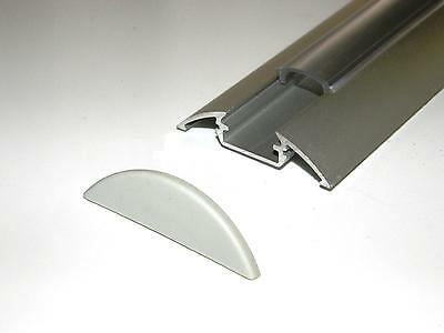 Aluminium Profile P4 for LED Strips; Anodized Silver, CLEAR Cover, End Caps, 1m