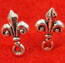 50Pcs. WHOLESALE Tibetan Silver FLEUR De Lis Earring Posts Studs Findings Q0801