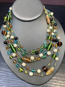 Vtg Bohemian Necklace 6 Multi Color Strand Art Glass  Beaded  18""