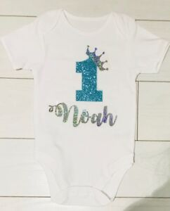 1956cfa22d835 Details about Boys Personalised 1st First Birthday Vest T-Shirt Top Cake  Smash Outfit Aqua