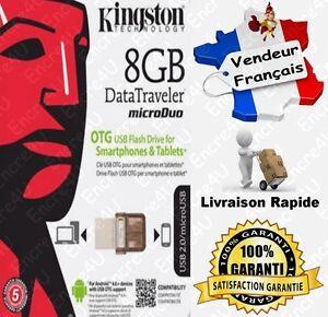 Cle-USB-8-Giga-Datatraveler-Micro-Kingston-DTDUO-Dispo-aussi-en-16-32-64-Go-Gb