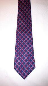 Turnbull-amp-Asser-Mens-Necktie-Tie-Blue-Red-Geometric-100-Silk-Made-in-England