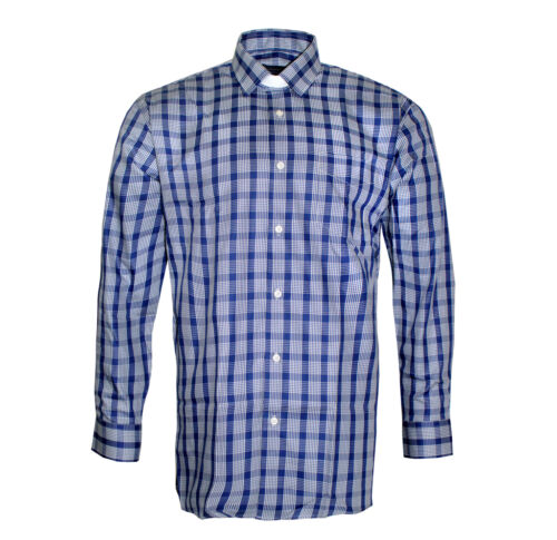 Mens Clerical Clip-in Shirt in Navy Check Hammond /& Harper of London