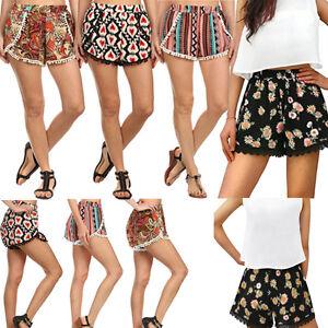 Women-Allover-Sexy-Hot-Pants-Summer-Casual-Shorts-High-Elastic-Waist-Short-Beach