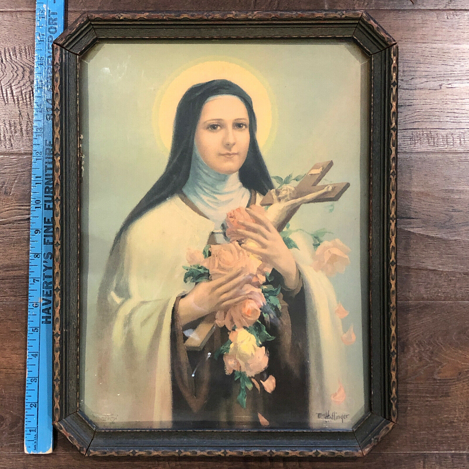 Vintage 1920s Catholic framed art in antique wood frame Saint  on eBay thumbnail