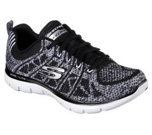 free shipping d222a fbfb7 Details zu NEU SKECHERS Damen Sneaker Memory Foam FLEX APPEAL 2.0-NEW GEM  Schwarz-Weiss
