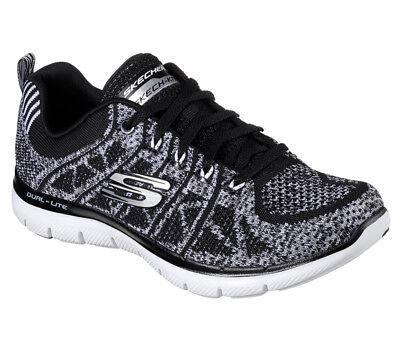 Details zu NEU SKECHERS Damen Sneaker Memory Foam FLEX APPEAL 2.0 NEW GEM Schwarz Weiss
