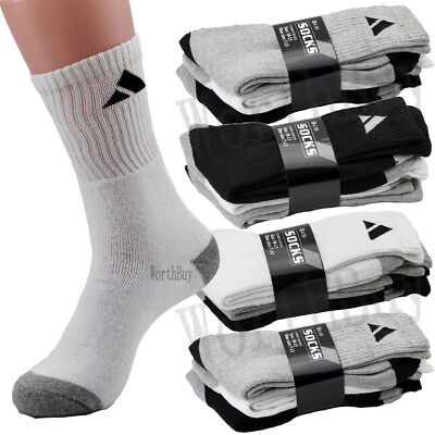 10-13 Heavy Weight Athletic Crew Cotton Black Socks Mens Womens 4 12 Pairs 9-11