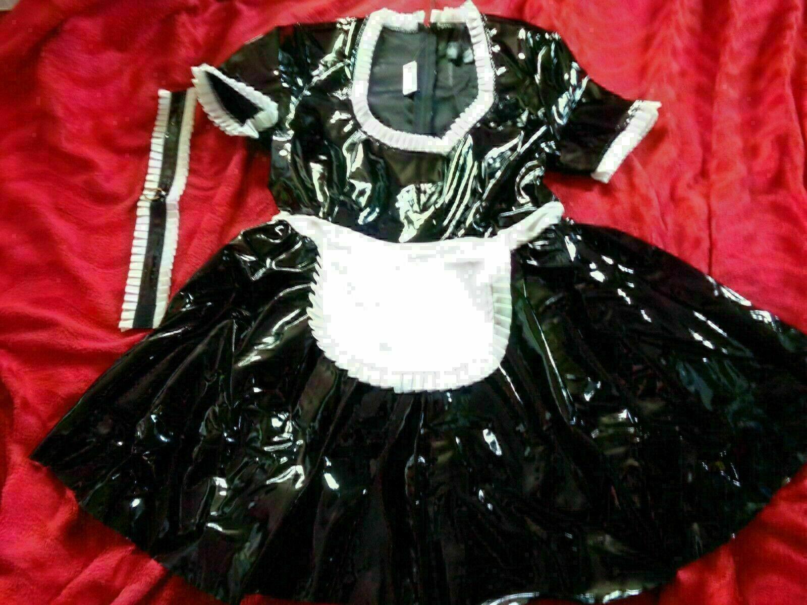 ANN SUMMER BLACK PVC MISTRESS MAID FANCY DRESS COSTUME SIZE M 12-14 NEW WITH TAG