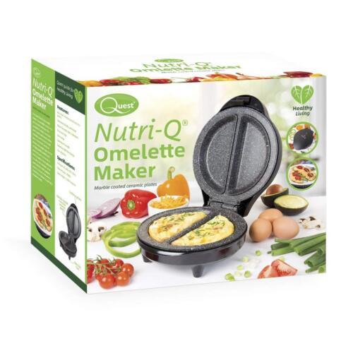 NUTRI-Q un/'alimentazione sana TWIN DOPPIO MARMO rivestito in ceramica piastre Omelette Maker