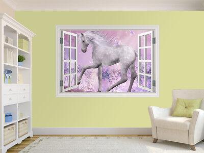10482356ww 3d Beautiful Unicorn photo window wall sticker wall mural Unicorn