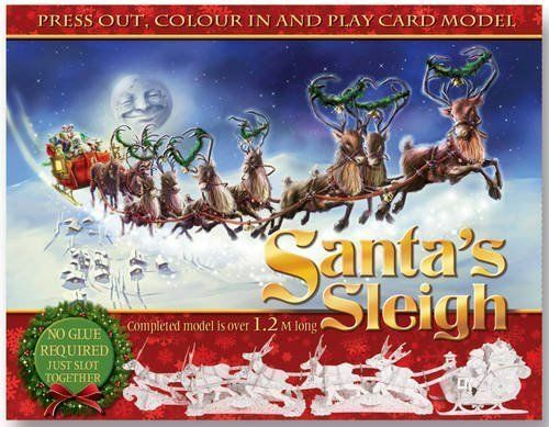 1.2m 3D Press Out /& Build Santa/'s Christmas Sleigh /& Reindeer Colouring Project