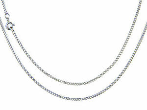 """45cm Width 0.8mm  Lifetime Guarantee 9ct White Gold  Filed Curb Chain 18/"""""""