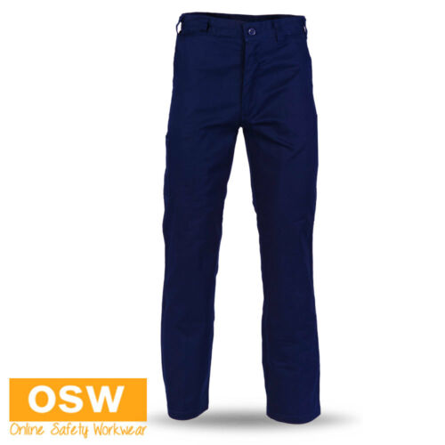 MENS NAVY HEAVY WEIGHT SAFETY WORK WEAR TRADIES COTTON DRILL TROUSER PANTS