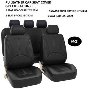 Black-9Pcs-Car-Seat-Covers-5-Seats-Full-Protectors-Universal-Washable-Leather