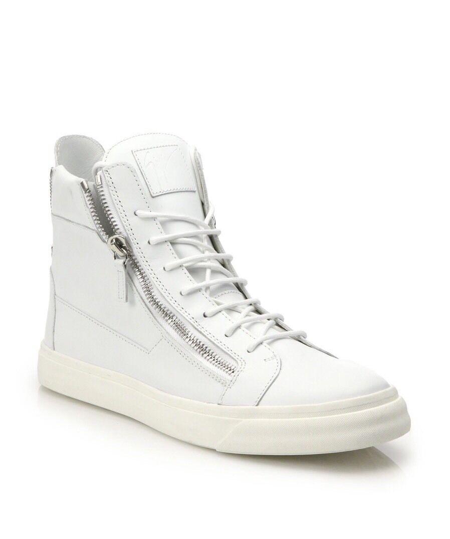 New In Box Giuseppe Zanotti White Pelle High-Top Scarpe da Ginnastica Sz. 43/10 *Sold Out*