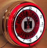 18 International Harvester Ih Motor Truck Service Sign Double Neon Clock