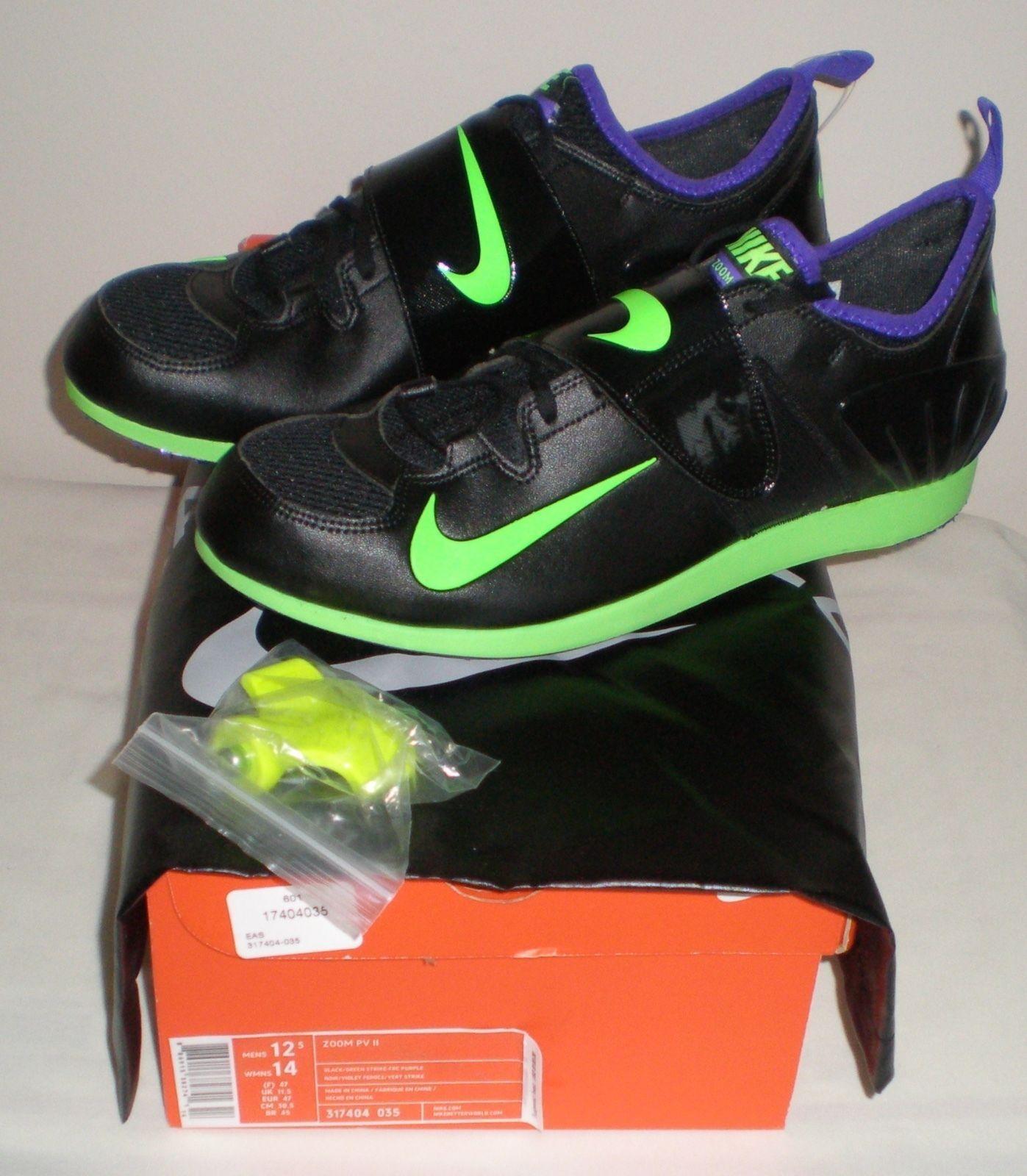 120 Men NIKE ZOOM PV II 2 Track POLE VAULT shoes Spikes 317404 035 BLACK 12.5