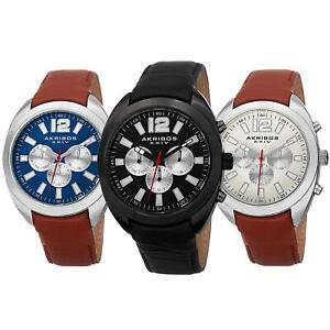 Men-039-s-Akribos-XXIV-AK777-Multifunction-Day-Date-Subdial-Leather-Strap-Watch