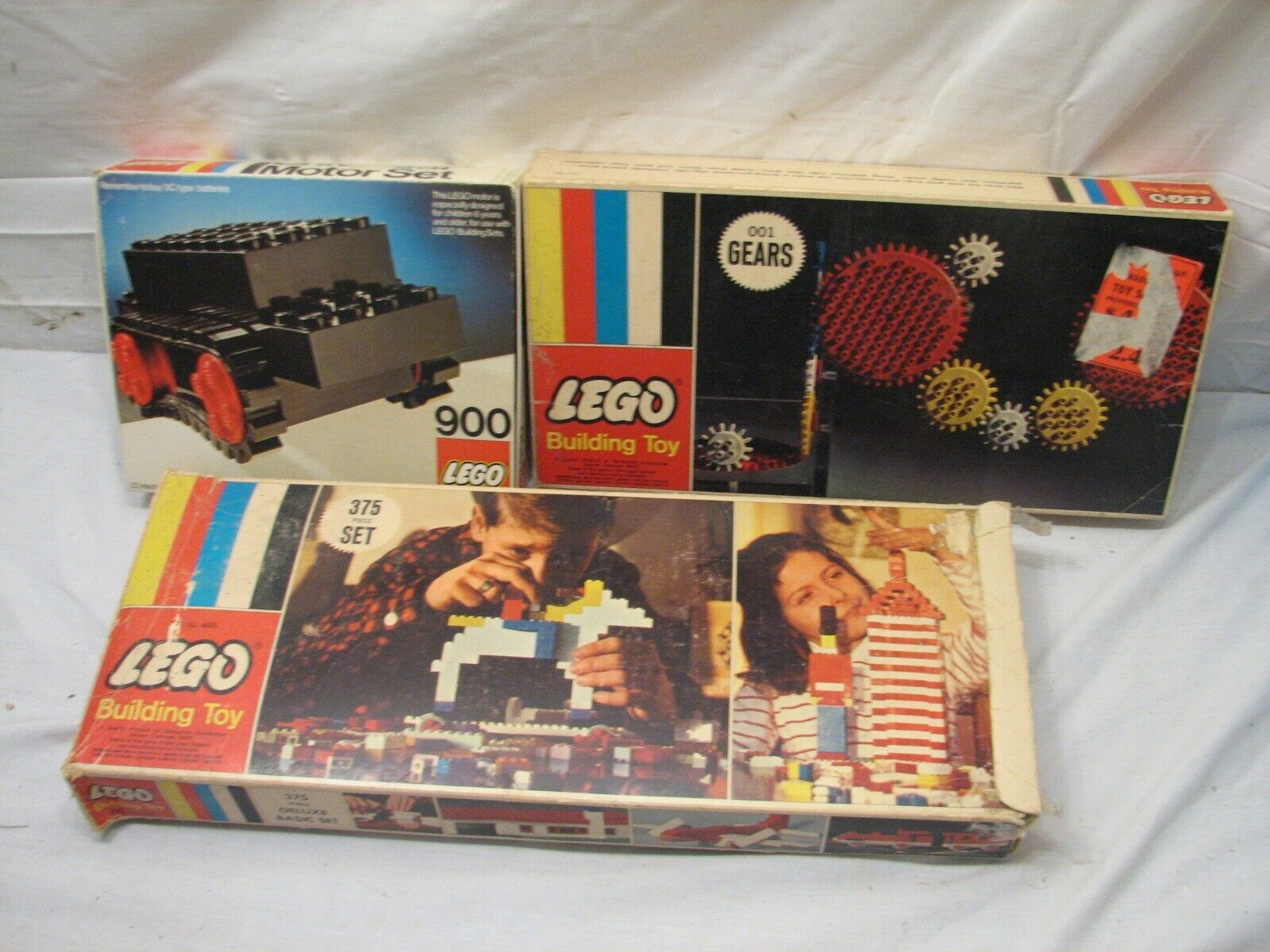 3 Vintage Lego Sets 375 Deluxe Basic 001 Gears 900 Universal Motor Set with Box