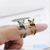 Rings Jewelry Fashion Vintage Antique Bronze Bulldog Statement Wrap Animal Ring
