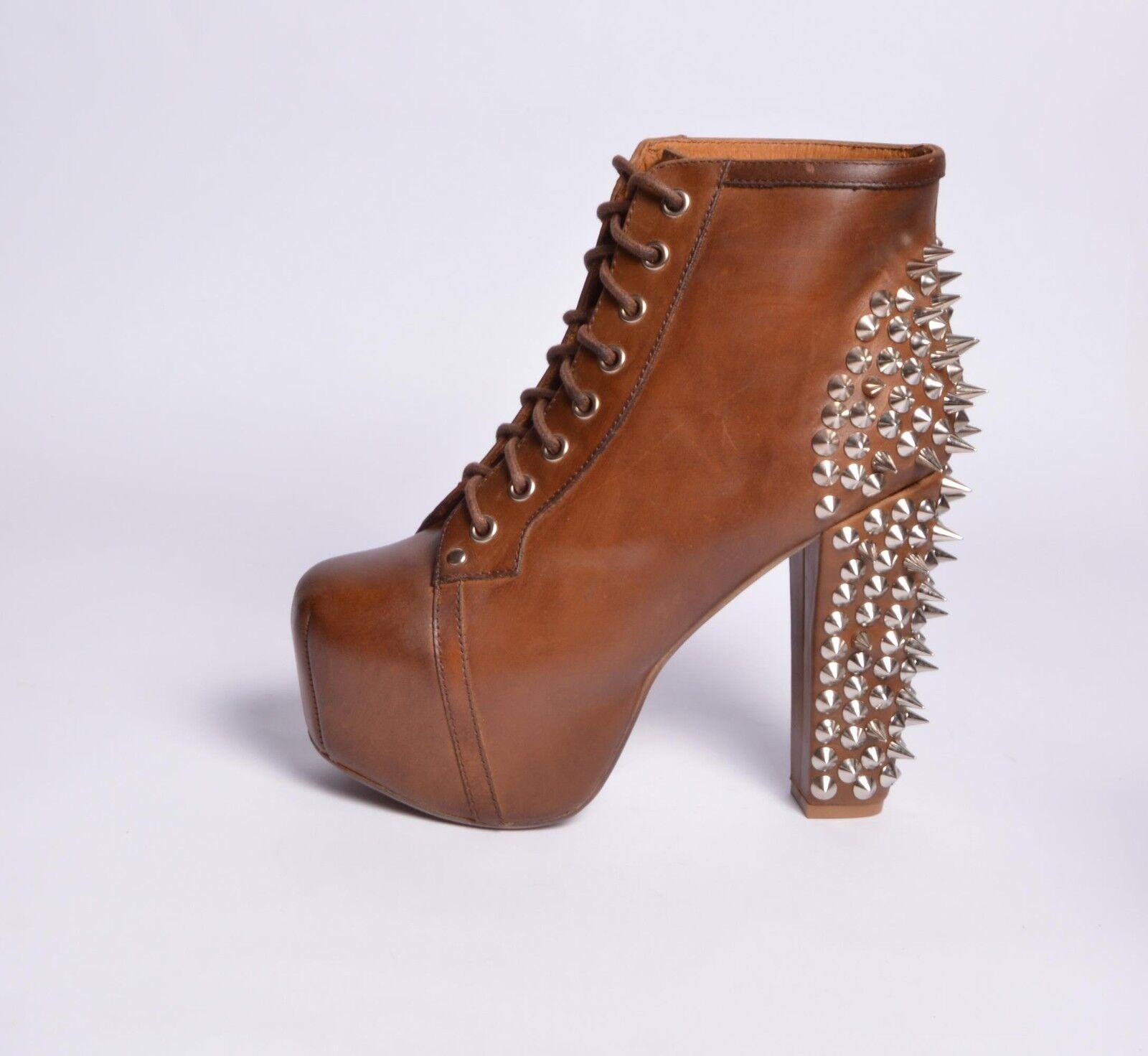 Grandes zapatos con descuento JEFFREY CAMPBELL SCARPE DONNA LITA SPIKE LEATHER DARK BROWN