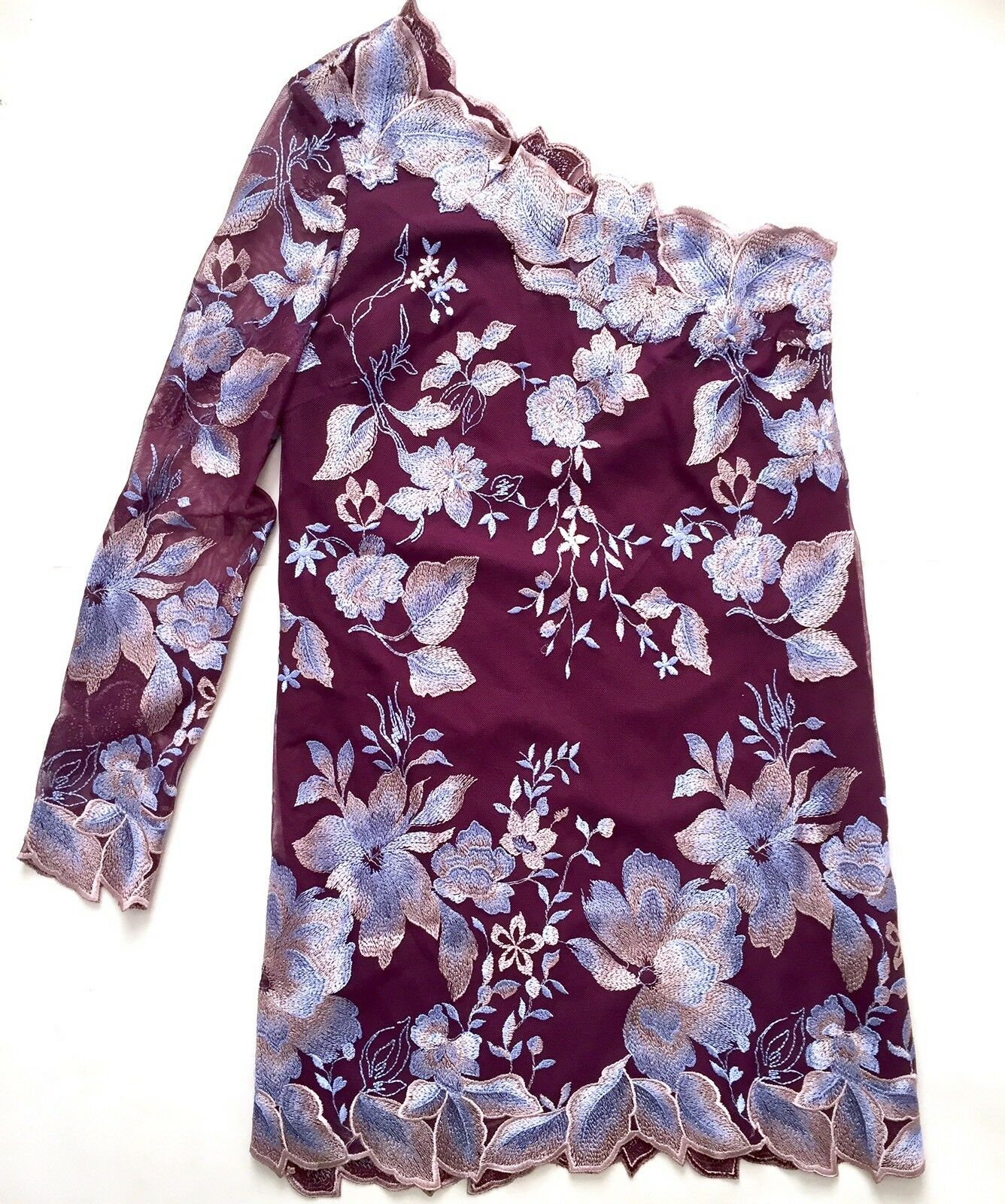 New Free People Wine lila One Shoulder Floral Dress Embroiderot Boho XS Sz 2