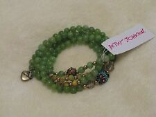 Betsey Johnson Owl Charm Convertible Necklace & Bracelet Green - NWT Sold Out