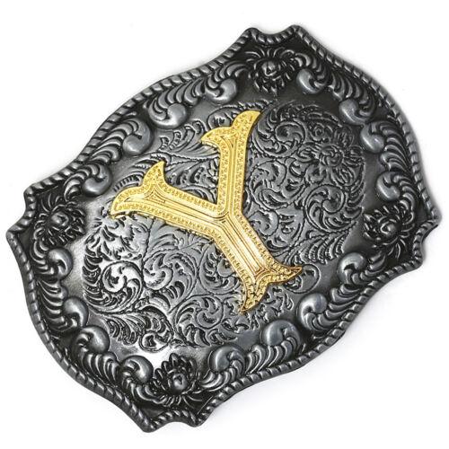 Men/'s Fashion Western Cowboy Initial Gold Letters A-Z Belt Buckle Accessory