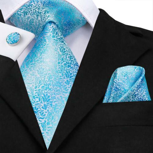 Blue Floral Mens Tie Woven Silk Necktie Set Handkerchief Cufflinks Wedding Party