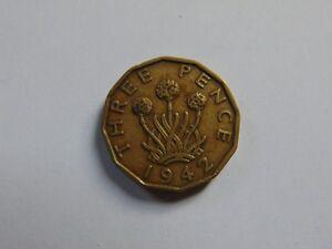 Muenze-Grossbritannien-Great-Britain-3-Pence-George-VI-1942-KM-849-Nickel-Messing
