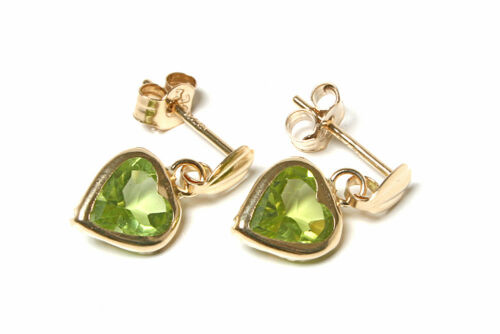 9ct Gold Peridot Heart drop Dangly earrings Gift Boxed Made in UK Birthday Gift