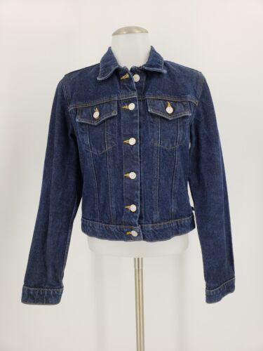 Ralph Jeans Vintage Sz M Lauren Délavé Jeans Polo Bleu Foncé Femme Veste En fAp4x814wq