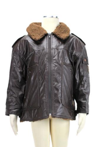 JACADI Boy's Altise Mocha Faux Leather Bomber Jacket Age: 4 Years NWT $156