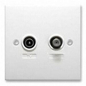Antiference-2-Way-Wallplate-TV-Satellite-Diplexed-Fully-Screened-Single-Input