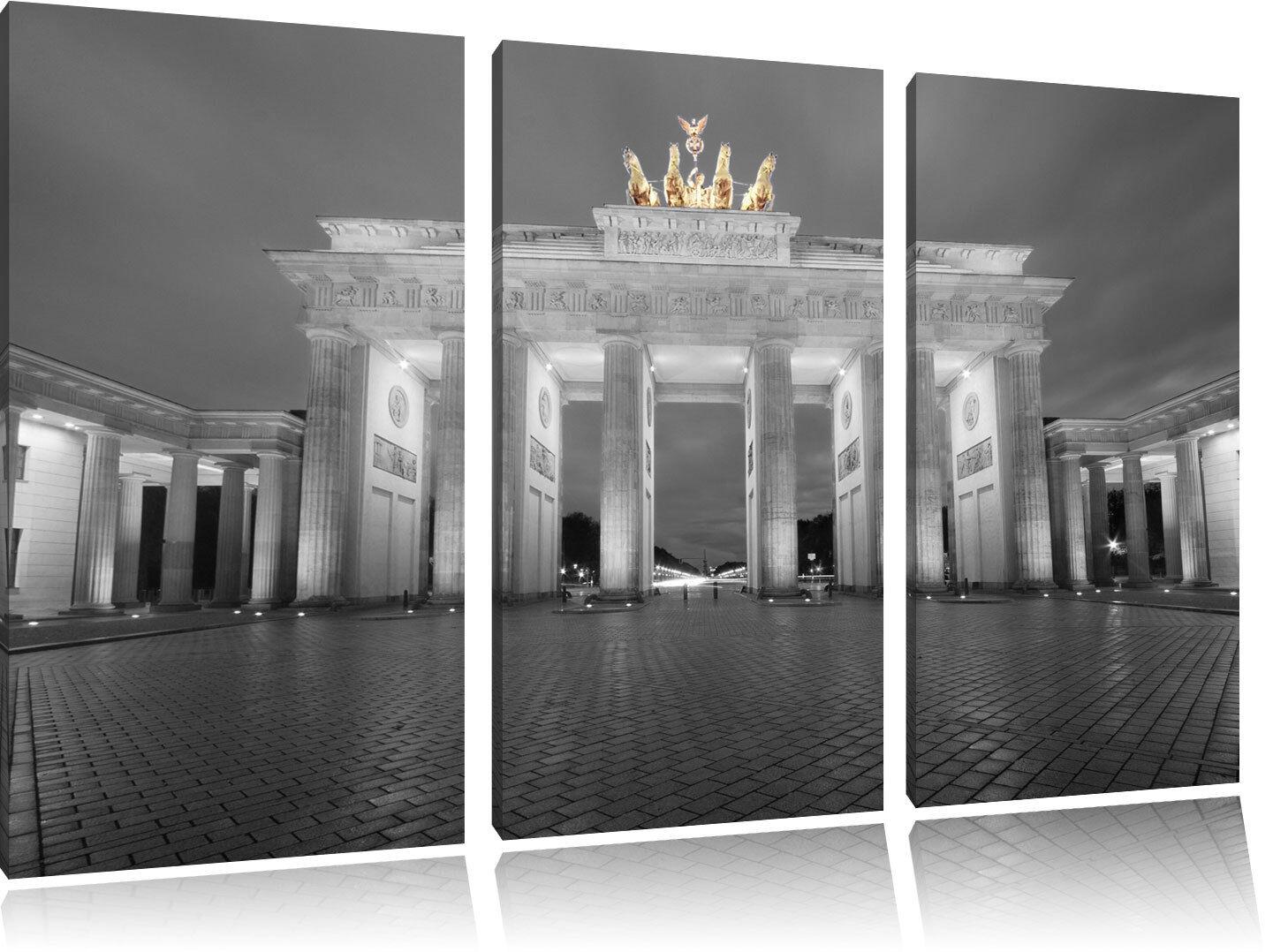 Bello Porta Brandeburgo su 3-Teiler Quadro Tel Decorazione Parete Stampa
