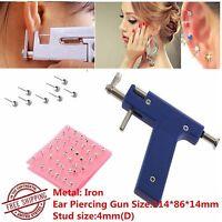 Ear Body Piercing Gun With 98 Studs Stainless Steel Tool Set Kit Pierce Metal Zm