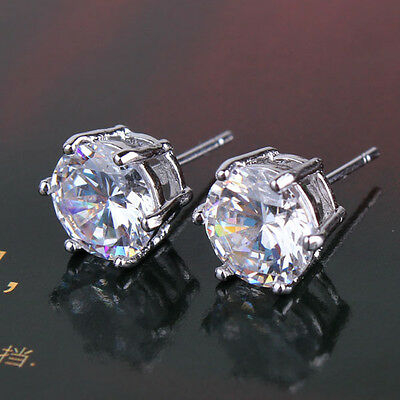 Absorbing 18K White gold filled Sapphire crystal latest HOT stud earring