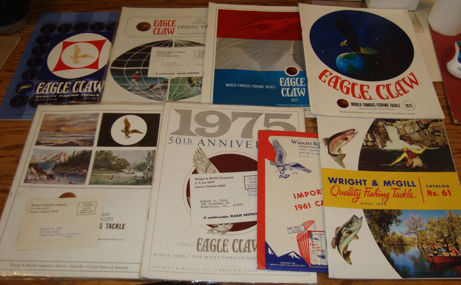1961 - 1975 Wright & McGill Eagle Claw Fishing Tackle Grünriebsbroschüre Lot of 7