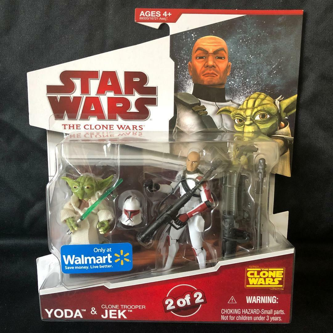 Star Wars The Clone Wars YODA & Clone Trooper JEK RARE New 2009 Walmart Excl.